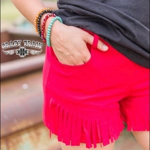 Crazy Train Red Fringe Shorts!!  PRICE FIRM